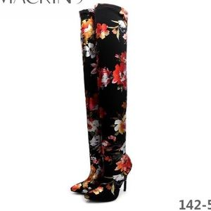 Shoes - Black floral over the knee boot